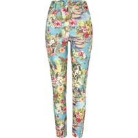 blue tropical print super skinny jeans - coloured / print jeans - jeans - women - River Island