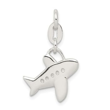 925 Sterling Silver Polished Airplane Charm and Pendant