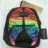 Hand Painted Rainbow Wings Custom Jansport Backpack Bookbag Ready to Ship