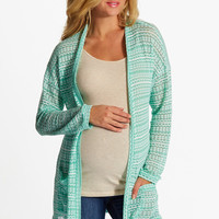 Mint Green White Knit Open Maternity Cardigan