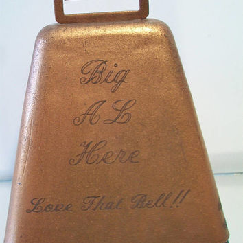Vintage Engraved Copper Cow Bell 1970 Country Farmhouse Rustic Home Decor