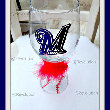 Milwaukee Brewers Inspired Wine Glass with Baseball Bottoms