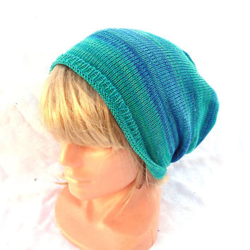 Knitted cotton hat, knit green blue beanie, knitting women men cap, knit summer sun hat, eco friendly hat, adult cloche slouche colorful tam
