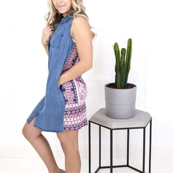 Women's Tribal Sleeveless Chambray Dress with Printed Back