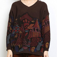 Coffee Ethnic V-Neck Long Sleeve Abstract Pattern Sweater
