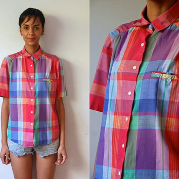 Vtg Plaid Button Down Yellow Blue Pink SS Cotton Shirt