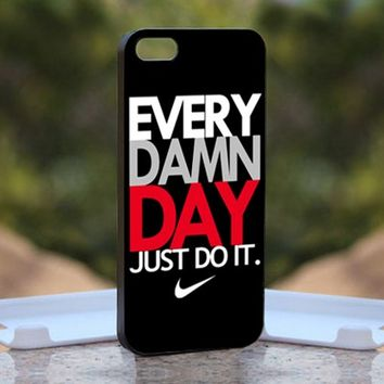 Nike Every Damn Day Black, Print on Hard Cover iPhone 5 Black Case