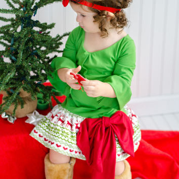Christmas Reindeer Knit Holiday Tunic Dress/Baby Girls Dress/Christmas Dress/Girls Christmas Dress/Red Dress/Knit Holiday Dress