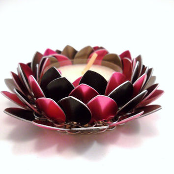 Lotus Flower Chainmail Candle Holder Pink and Black