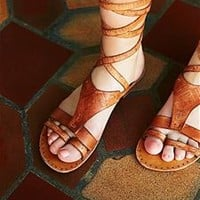 Free People Oliviera Wrap Gladiator Sandals in Tan F988A964-TAN