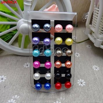 Faux Pearl Earrings 12 Pairs Round Ball Women Ear Stud Beads Multi-color #H058#