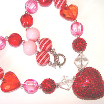 Glittering Red Valentine Heart Chunky Necklace Toddler Girl Fun Fashion Jewelry Red and Pink