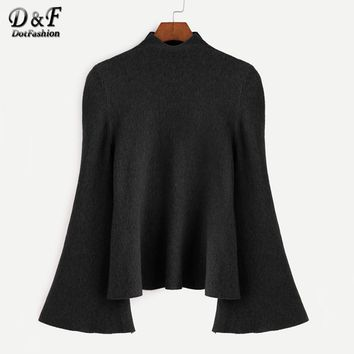 Dotfashion Mock Neck Bell Sleeve Jersey Sweater 2017 Women Turtleneck Loose Pullovers Long Sleeve Elegant Sweater