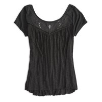 AE Emroidered Draping T-Shirt   American Eagle Outfitters
