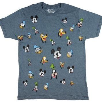 Disney Men's Mickey and Friends Faces Distressed Print Heather T-Shirt
