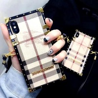 Burberry all-inclusive diagonal female tide anti-fall iPhonexs max mobile phone case