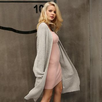 Autumn Knitted Long Cardigan Winter Soft Loose Cardigan Coat Causal Sweater Jumper