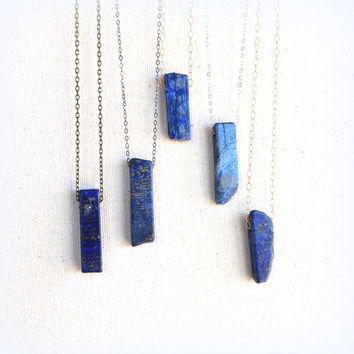 Lapis lazuli stick necklace on sterling silver gold filled or brass chain third eye jewelry throat chakra lapis lazuli necklace everyday
