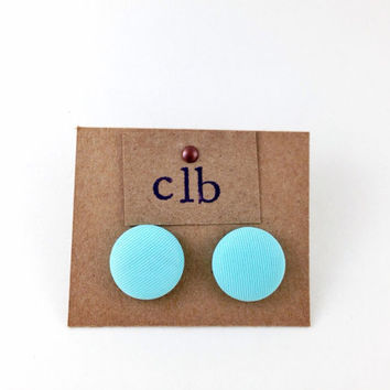 Light Blue Fabric Button Earrings, Sky Blue Spring Studs, Baby Blue Circle Stud Earrings