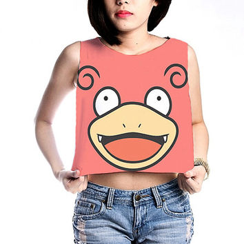 Slowpoke Pokemon Shirt Crop Tops Women Tanks