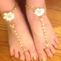 Custom Bride's Beach wedding white flower , rhinestone and faux pearl barefoot sandals- gypsy, boho, belly dancing et