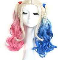 Yuehong Two Colors Wavy Medium Curly Synthetic Hair Dyeing Cosplay Wig Heat Resistant Fiber