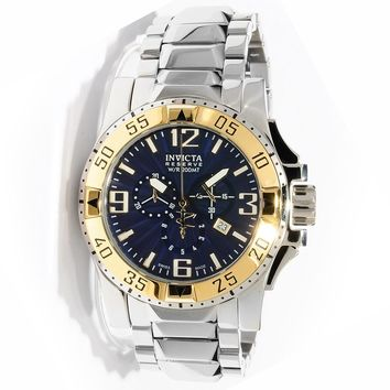 Invicta 10894 Men's Reserve Excursion Blue Textured Dial Gold Tone Bezel Chronograph Stainless Steel Dive Watch