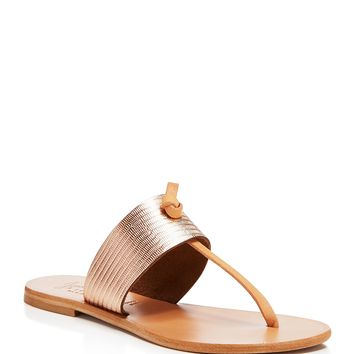 JoieNice Metallic Embossed Thong Sandals