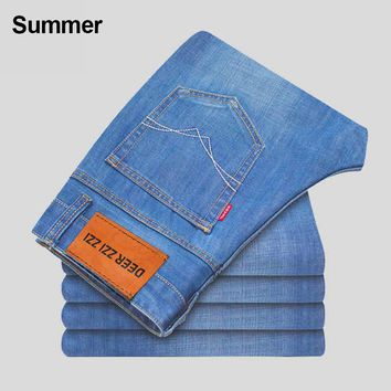 Thoshine Brand 2017 Spring Summer Autumn Men Business Jeans Male Denim Casual Style Pants Adult Thin Trousers Plus Size Clothing