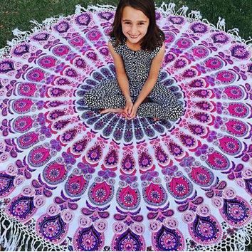 Vintage Printed Round Indian Mandala Tapestry Wall Hanging Art Beach Throw Towel Yoga Mat Blanket Boho Home Decor 150cm Purpe
