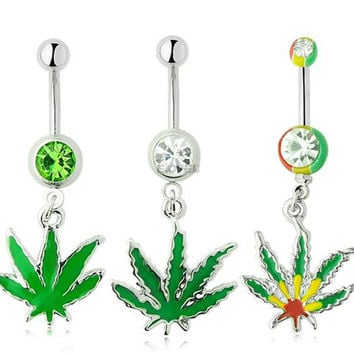Sexy Rhinestone Ball Green Leaf Stainless Steel Piercing Belly Button Rings Body Piercing Navel Jewelry Free Shipping