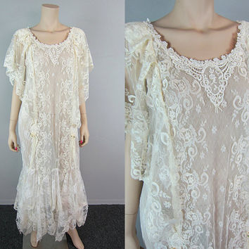 Vintage 80s Sheer Ivory Lace Maxi Dress Boho Hippie Wedding Flapper Gypsy Asymmetrical Victorian