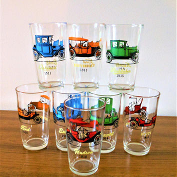 Set of Eight Hazel Atlas Automobile Tumblers, HA Antique Autos  Glasses, Vintage Autos Tumblers, Classic Cars Cocktail Glasses