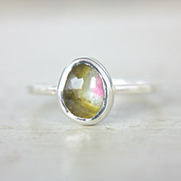Watermelon Tourmaline Ring Engagement Ring Sterling Silver Natural Rose Cut Tourmaline Gemstone Engagement Ring Size 8-9 Silversmith