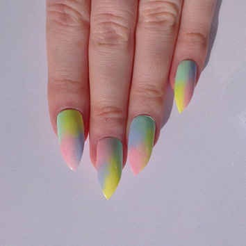 Pastel stiletto nails, Nail designs, Nail art, Nails, Stiletto nails, Acrylic nails, Pointy nails, Fake nails