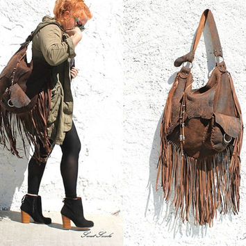 Oversized tribal leather raw edges brown distressed hobo gypsy larp elvish bohemian fringed bag fringe tote large brown rusted hobo tribal
