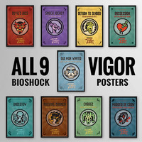 Bioshock Infinite Inspired ENTIRE Vigor Poster Series