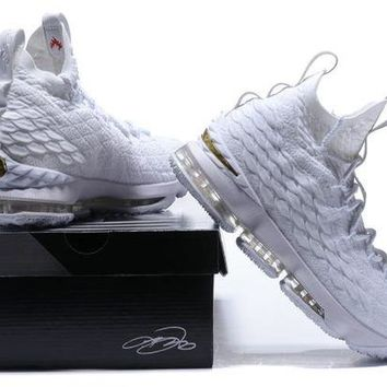 DCCK Nike LeBron 15 XV White-Gold Basketball Shoe