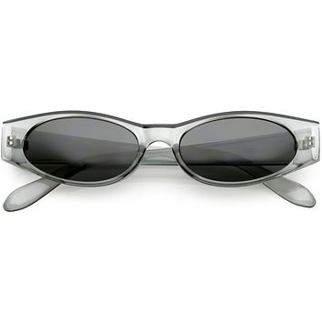 Retro 1990's Fashion Narrow Oval Flat Lens Sunglasses C550