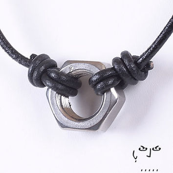 VujuWear Stainless Steel Hex Nut  Leather Necklace