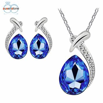 SUSENSTONE Women Crystal Pendant Silver Plated Chain Necklace Stud Earring Jewelry Set