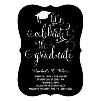 "Let's Celebrate The Graduate Grad Party Invite 5"" X 7"" Invitation Card"