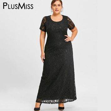 PlusMiss Plus Size 7XL Elegant Lace Crochet Maxi Long Dress Women Clothing Short Sleeve Formal Evening Party Dress Large Size