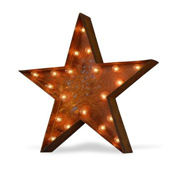 """24"""" Star Vintage Marquee Sign with Lights (Rustic)"""