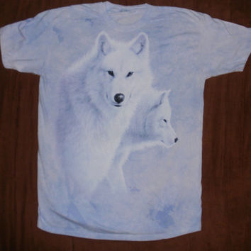 woman's t-shirt, multicolored, two white wolves on front size large brand new 100% preshrunk cotton