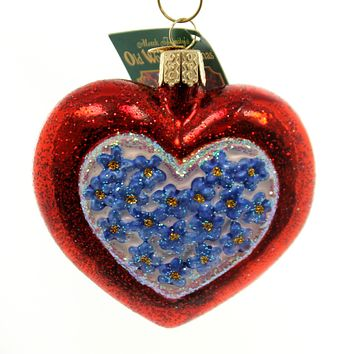 Old World Christmas Forget Me Not Heart Glass Ornament