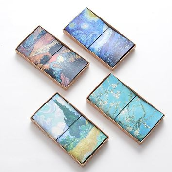 Van Gogh Starry Night Travel Journal Diary Planner Notebook Leather Cover Hobonichi Style Weekly Schedule Office School Supplies