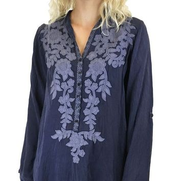 MDIGYW3 Johnny Was Applique Allie Blouse Blue Gravel
