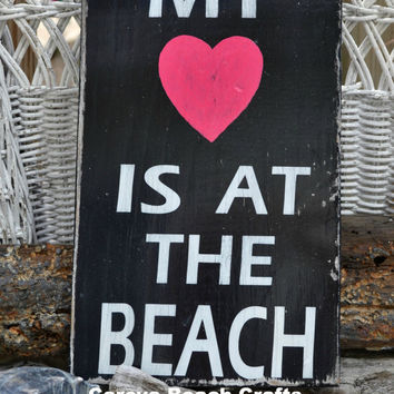 Beach Decor, Coastal, Nautical, My Heart Is At The Beach, Black & Pink, Wood Sign, Hand Painted, Gift