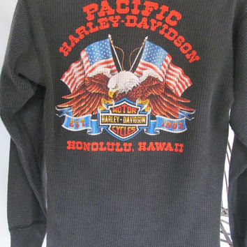 Pacific Harley Davidson Honolulu Hawaii Harley Dealer Shirt 1980s sz L Front and Back Motorcycle Thermal Shirt